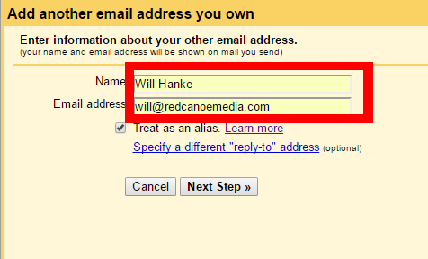 how to add an email address to gmail email address