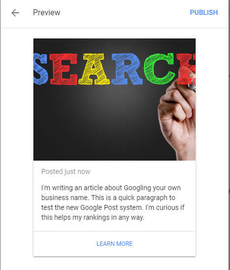 Google Your Business Post Preview