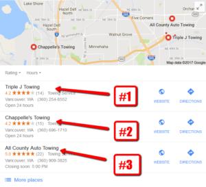 rank at top of google maps